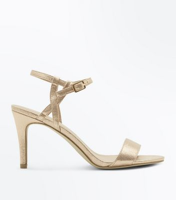 Rose Gold Metallic Twist Strap Stiletto Sandals