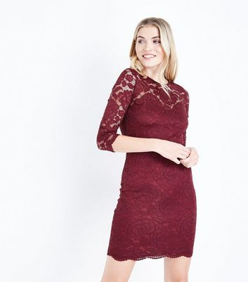 Burgundy Floral Lace Bodycon Dress