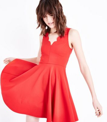 Red Scallop V Neck Sleeveless Skater Dress