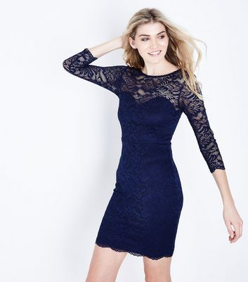 Navy Lace Sweetheart Neck Bodycon Dress