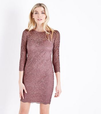 Pink Lace Sweetheart Neck Bodycon Dress