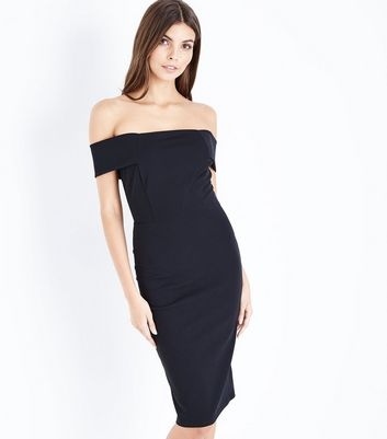 Black Bardot Neck Scuba Midi Dress