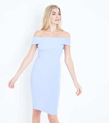 Pale Blue Bardot Neck Scuba Midi Dress