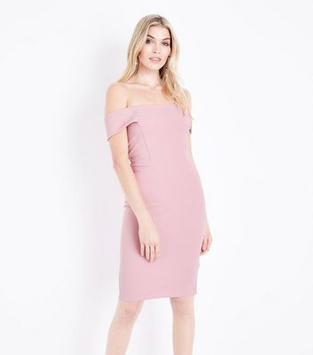 Pink Bardot Scuba Midi Party Dress