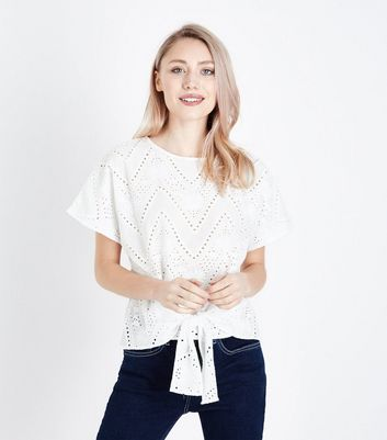 Petite White Broderie Tie Front T-Shirt