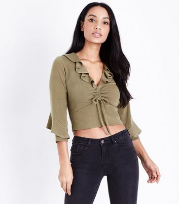 Khaki Ruched Front Frill Trim Top