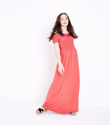 Teens Mid Pink Shirred Maxi Dress
