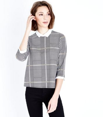 Grey Check Contrast Collar Top