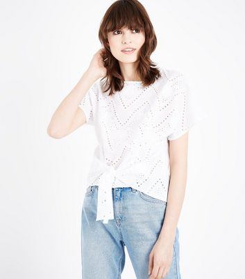 White Embroidered Cut Out Tie Front T-Shirt