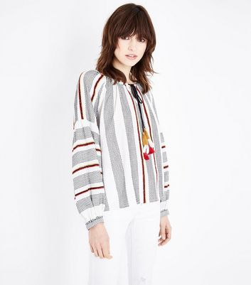 White Stripe Tassel Tie Balloon Sleeve Top