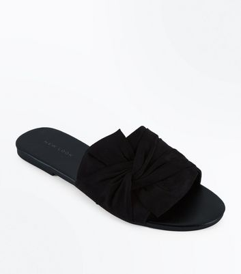 Black Suedette Bow Knot Sliders