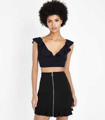 Black Plunge Frill Neck Crop Top
