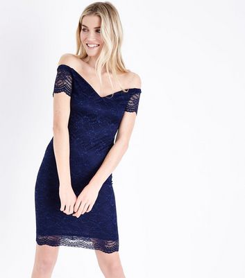 Navy Scalloped Lace Sweetheart Midi Dress