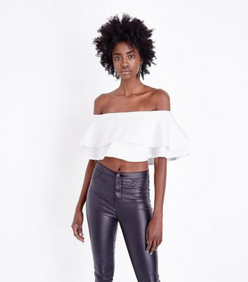 White Frill Tiered Bardot Crop Top