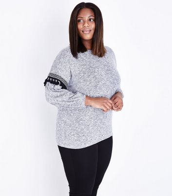 Curves Grey Marl Aztec Tassel Sleeve Jumper