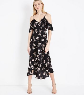 Black Floral Wrap Front Cold Shoulder Midi Dress