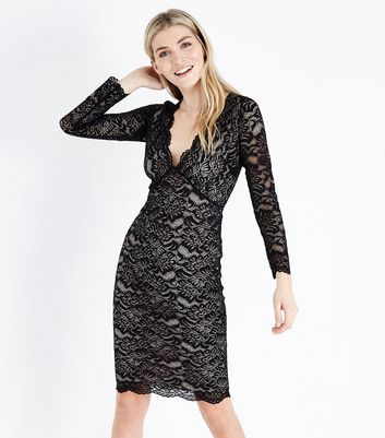Black Contrast Lace Plunge Neck Midi Dress
