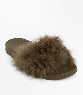Khaki Feather Strap Sandals