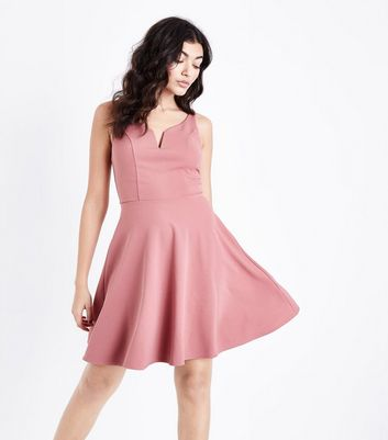 Deep Pink Notch Neck Crepe Skater Dress