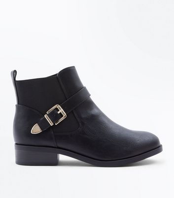 Wide Fit Black Buckle Strap Chelsea Boots