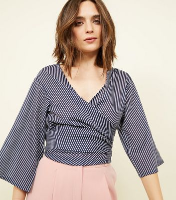 Black Stripe Wrap Tie Top