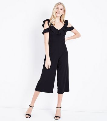Black Frill Cold Shoulder Culotte Jumpsuit