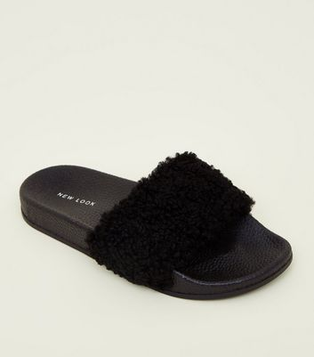 Black Teddy Strap Sliders by New Look