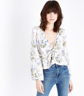 White Floral Flared Sleeve Cover Up