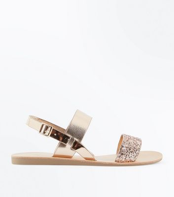 Rose Gold Metallic and Glitter Flat Sandals