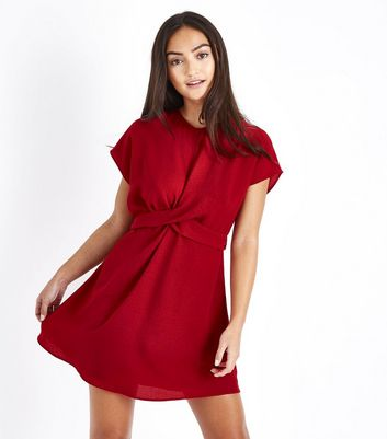 petite-red-twist-front-tie-back-dress by new-look