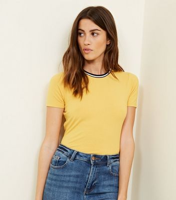 Mustard Ribbed Ringer T Shirt by New Look