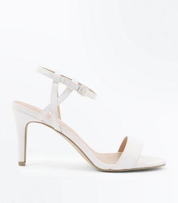 White Twist Strap Heeled Sandals by New Look