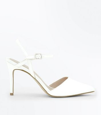 Off White Satin Pointed Wedding Shoes