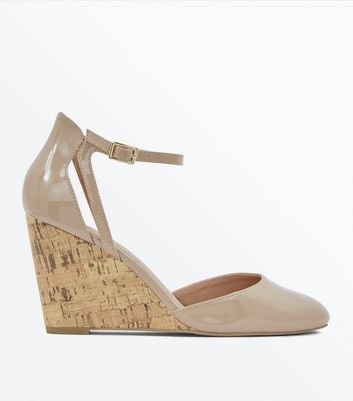 Nude Patent Cut Out Two Part Wedges