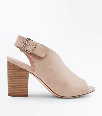 Light Brown Suedette Peep Toe Block Heels