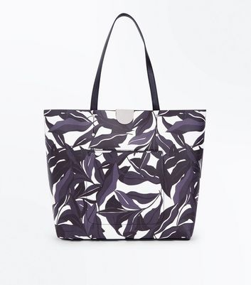 Black Floral Printed Shopper Bag
