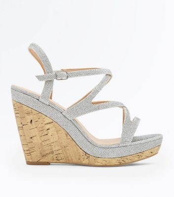 Silver Glitter Strappy Cork Wedges