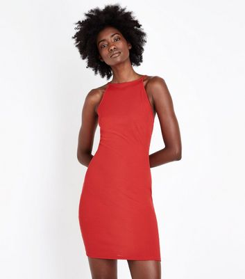 Red Ribbed Sleeveless Party Dress