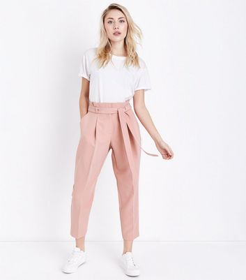 Petite Pink Paperbag Waist Trousers
