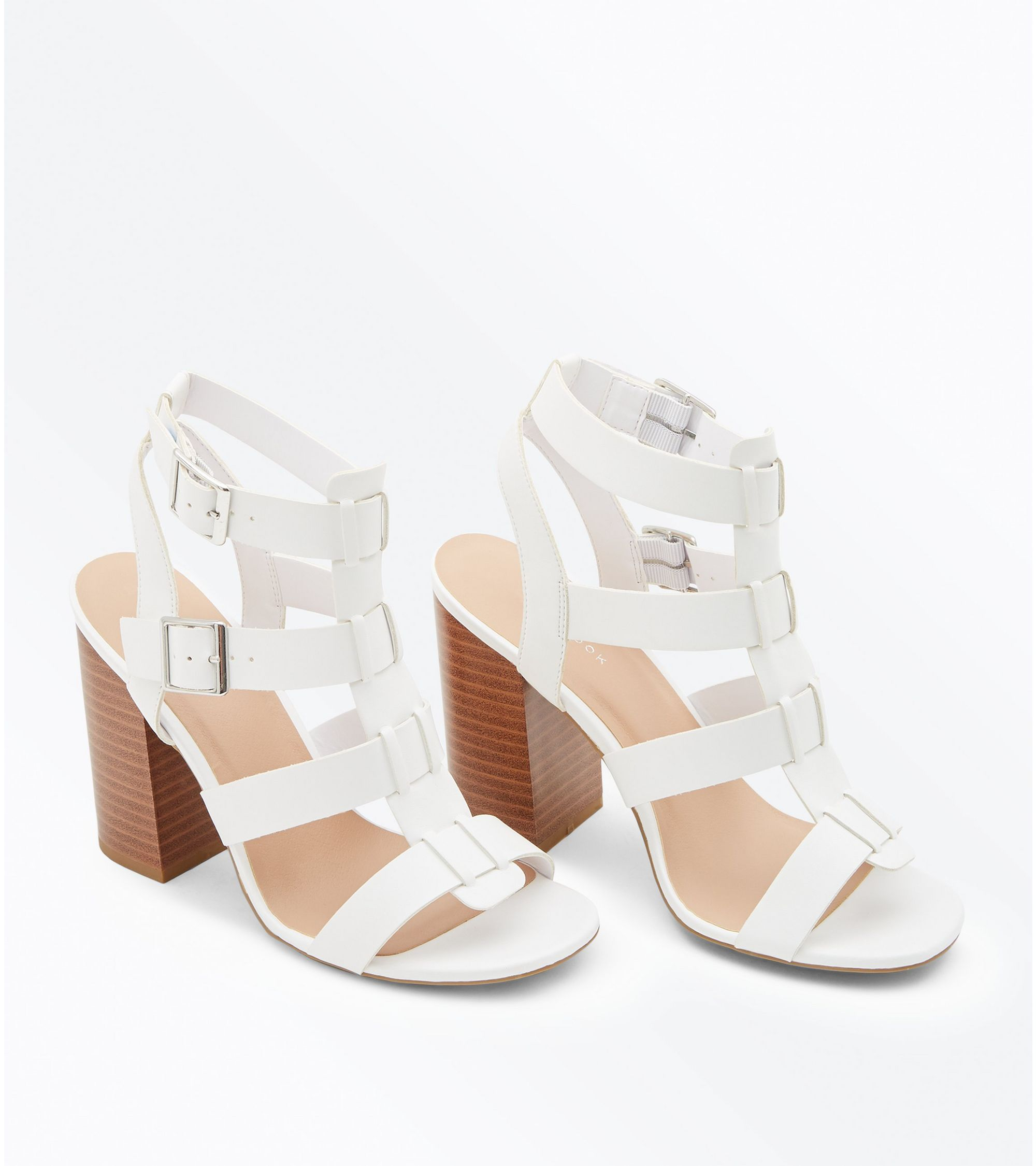 e574155fedc New Look White Wooden Block Heel Gladiator Sandals at £12
