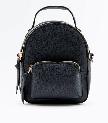 Black Zip Front Micro Backpack