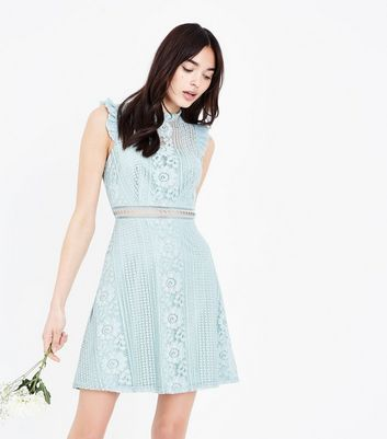 Mint Green Lace Frill Sleeve Skater Dress