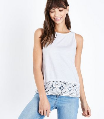 White Crochet Hem Vest Top