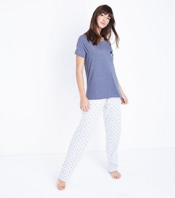 Tall Blue Heart Jersey Pyjama Set