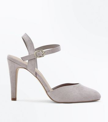 Wide Fit Grey Suedette Ankle Strap Courts