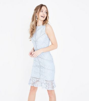 Pale Blue Lace Crochet Trim Bodycon Dress by New Look