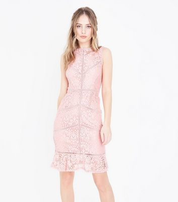 Pink Lace Crochet Trim Bodycon Dress