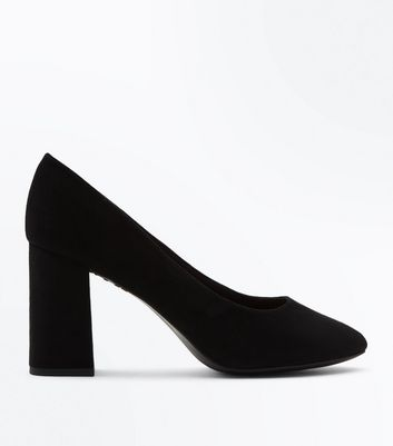 Wide Fit Black Comfort Flex Suedette Court