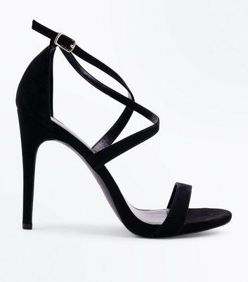 Schwarze Sandalette mit Riemchen und Stiletto-Absatz OLrN1k