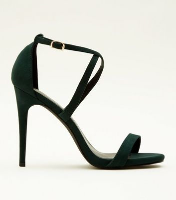 Dark Green Suedette Strappy Stiletto Heel Sandals